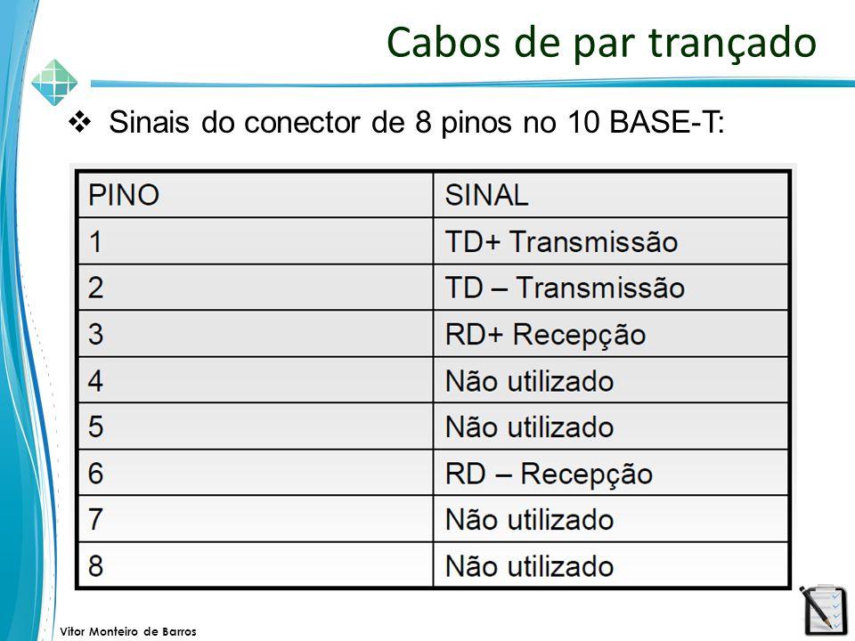 Vitor Monteiro de Barros Cabos de par trançado  Sinais do conector de 8 pinos no 10 BASE-T: