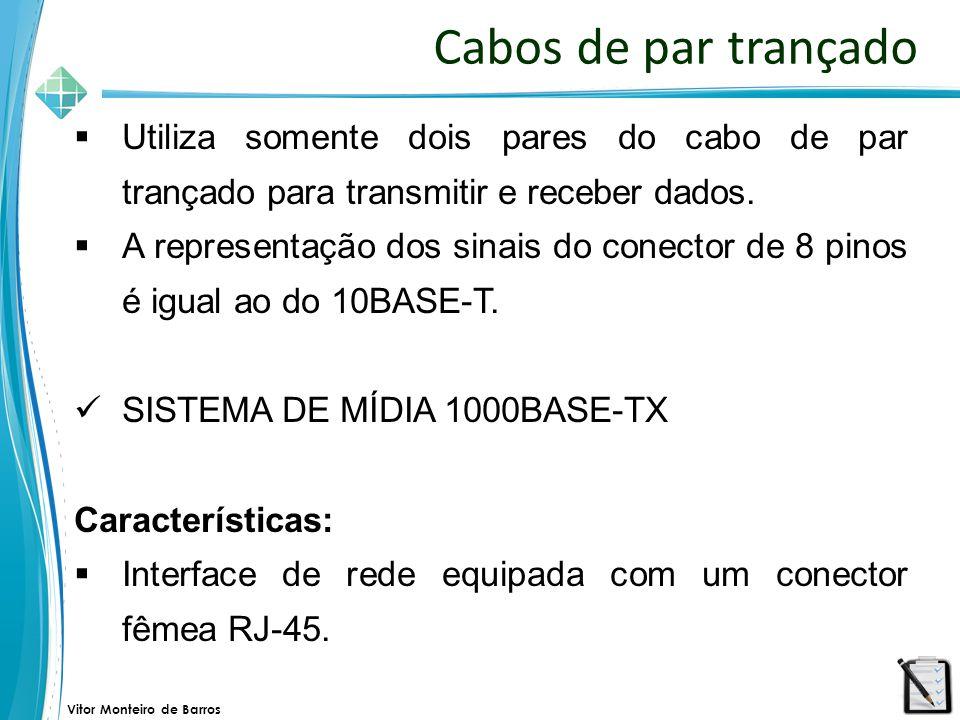 Vitor Monteiro de Barros Cabos de par trançado  Utiliza somente dois pares do cabo de par trançado para transmitir e receber dados.  A representação