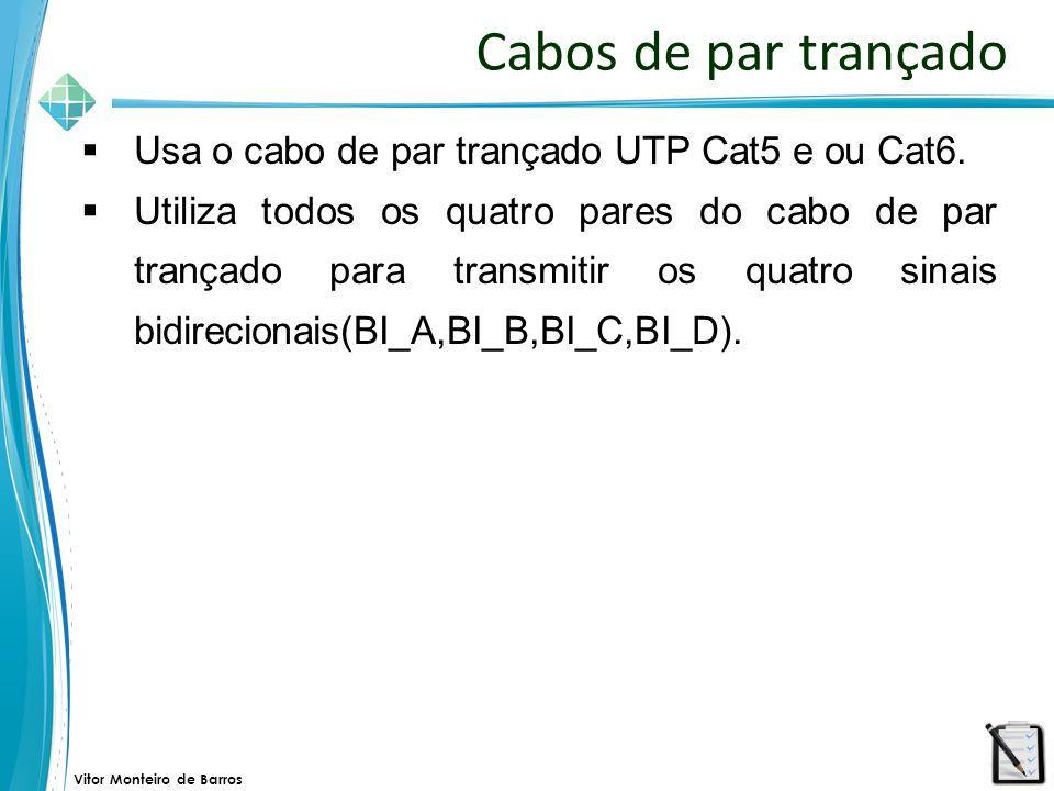 Vitor Monteiro de Barros Cabos de par trançado  Usa o cabo de par trançado UTP Cat5 e ou Cat6.  Utiliza todos os quatro pares do cabo de par trançad