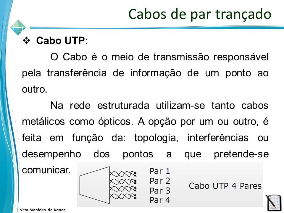 Vitor Monteiro de Barros Cabos de par trançado  Cabo UTP: O Cabo é o meio de transmissão responsável pela transferência de informação de um ponto ao