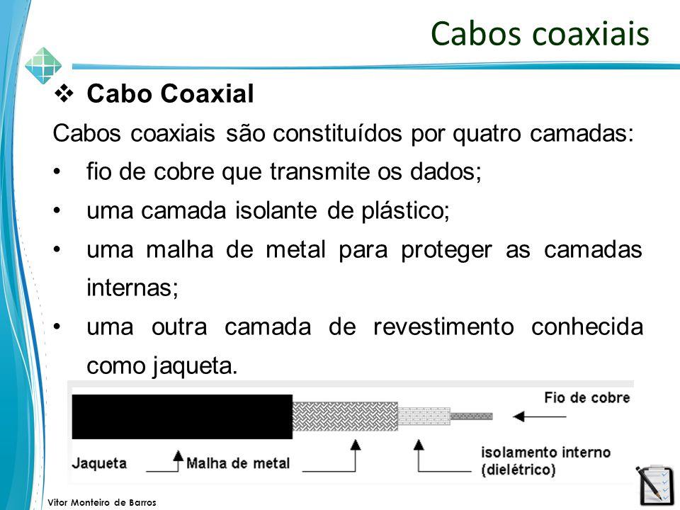 Vitor Monteiro de Barros Cabos coaxiais  Cabo Coaxial Cabos coaxiais são constituídos por quatro camadas: fio de cobre que transmite os dados; uma ca