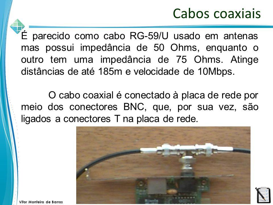 Vitor Monteiro de Barros Cabos coaxiais No primeiro e último micros da rede são conectados, ao conector, um terminador de 50 Ohms, para evitar que os pacotes retornem ao chegar numa das pontas.