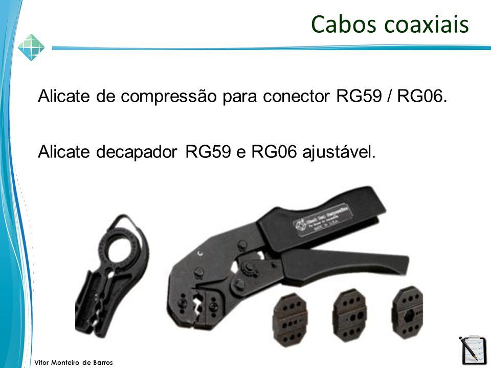 Vitor Monteiro de Barros Cabos coaxiais Alicate de compressão para conector RG59 / RG06. Alicate decapador RG59 e RG06 ajustável.
