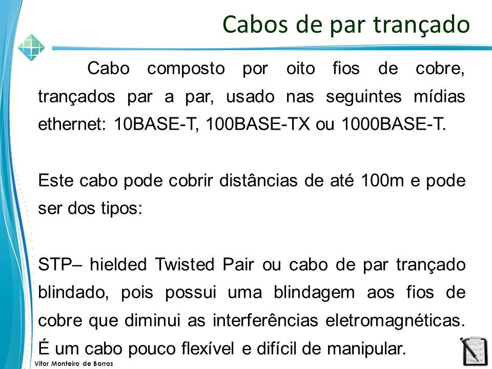 Vitor Monteiro de Barros Cabos de par trançado Cabo composto por oito fios de cobre, trançados par a par, usado nas seguintes mídias ethernet: 10BASE-