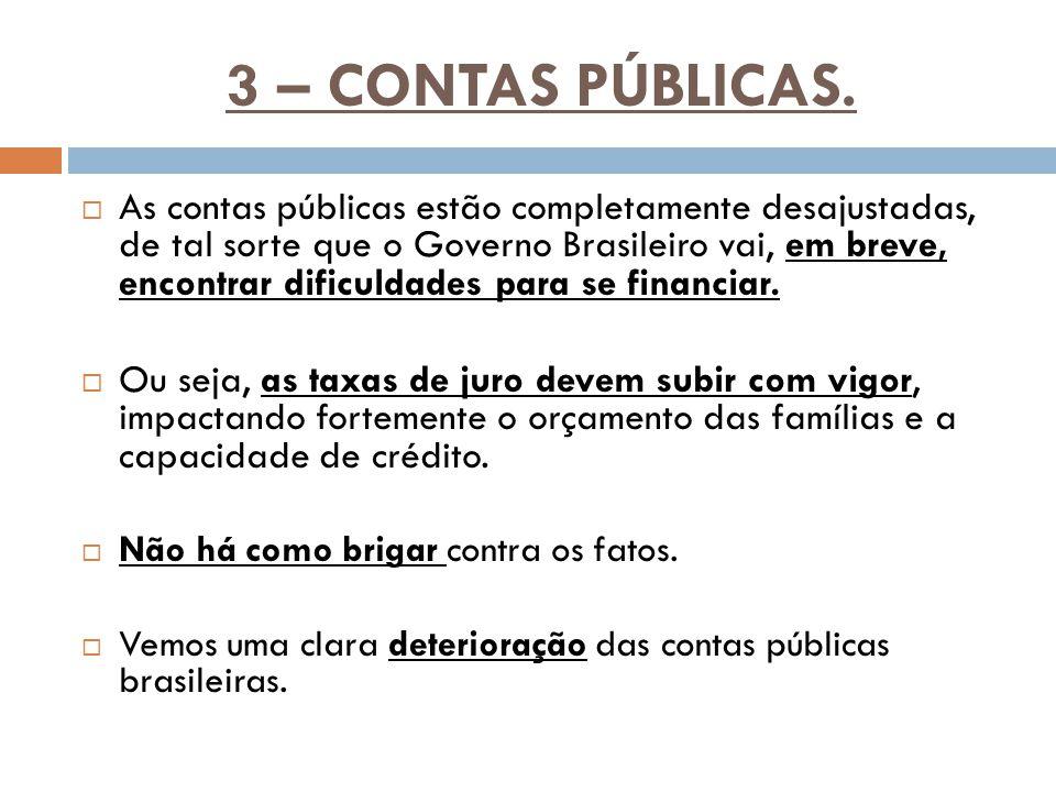 3 – CONTAS PÚBLICAS.  As contas públicas estão completamente desajustadas, de tal sorte que o Governo Brasileiro vai, em breve, encontrar dificuldade