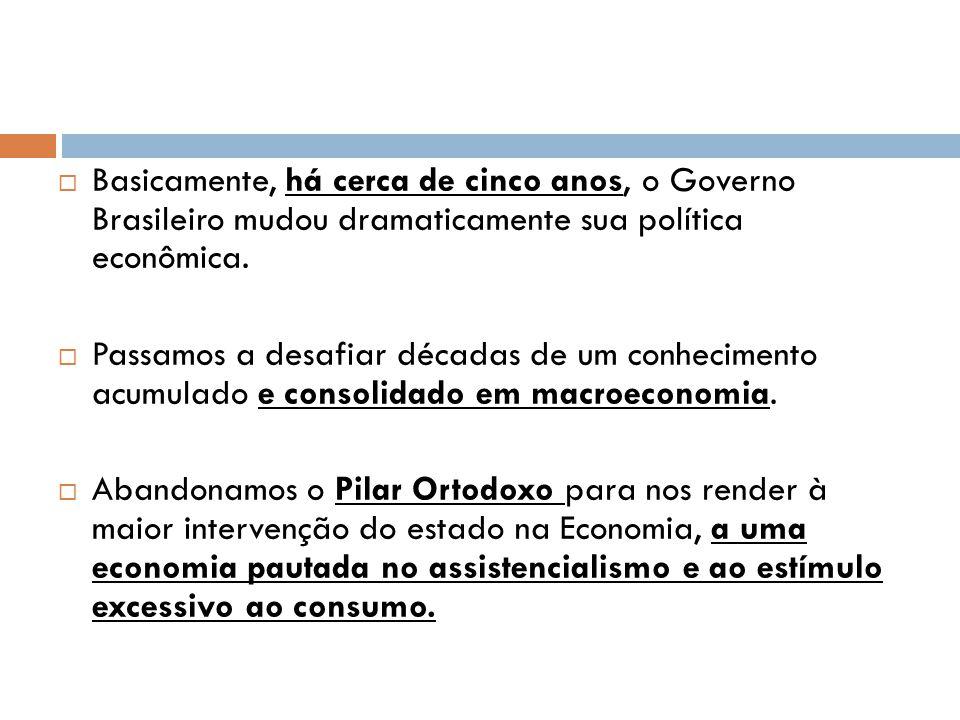  Basicamente, há cerca de cinco anos, o Governo Brasileiro mudou dramaticamente sua política econômica.  Passamos a desafiar décadas de um conhecime