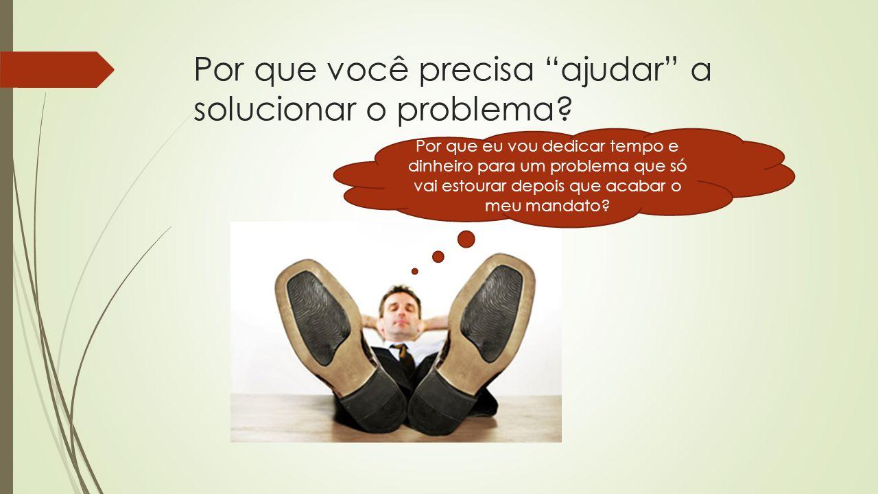 """Por que você precisa """"ajudar"""" a solucionar o problema? Por que eu vou dedicar tempo e dinheiro para um problema que só vai estourar depois que acabar"""