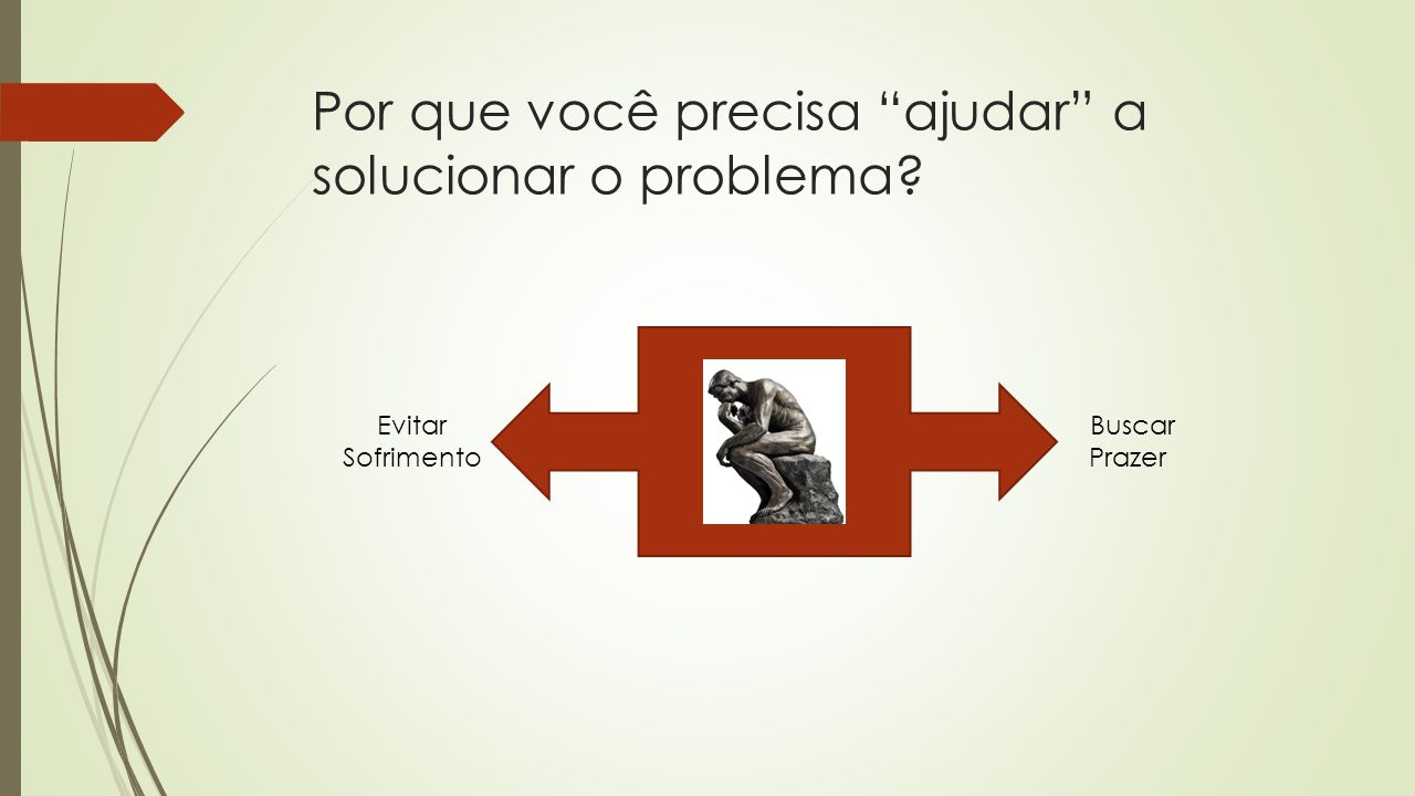 """Por que você precisa """"ajudar"""" a solucionar o problema? Buscar Prazer Evitar Sofrimento"""