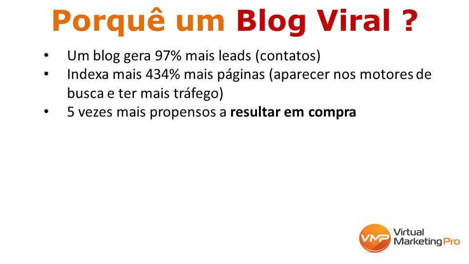 Porquê um Blog Viral ? Um blog gera 97% mais leads (contatos) Indexa mais 434% mais páginas (aparecer nos motores de busca e ter mais tráfego) 5 vezes