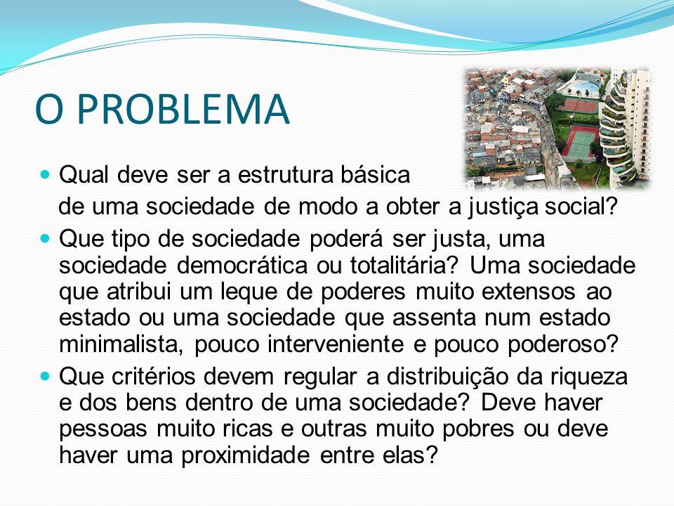 O PROBLEMA Qual deve ser a estrutura básica de uma sociedade de modo a obter a justiça social? Que tipo de sociedade poderá ser justa, uma sociedade d
