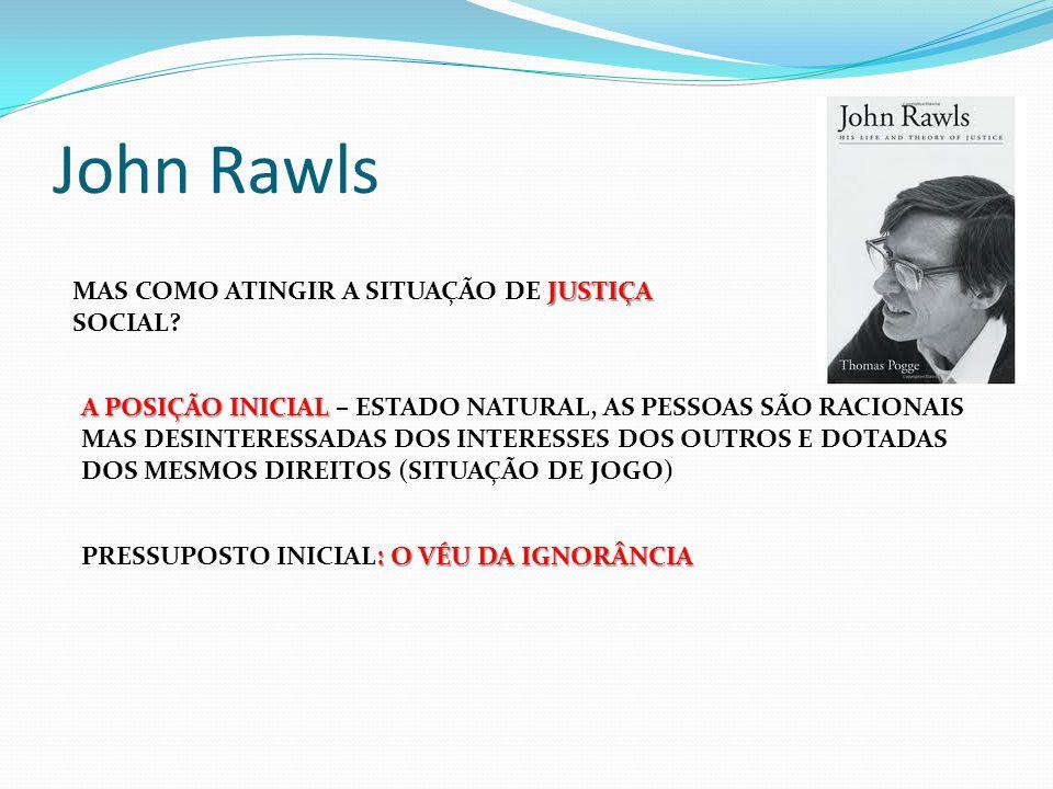 John Rawls JUSTIÇA MAS COMO ATINGIR A SITUAÇÃO DE JUSTIÇA SOCIAL? A POSIÇÃO INICIAL A POSIÇÃO INICIAL – ESTADO NATURAL, AS PESSOAS SÃO RACIONAIS MAS D