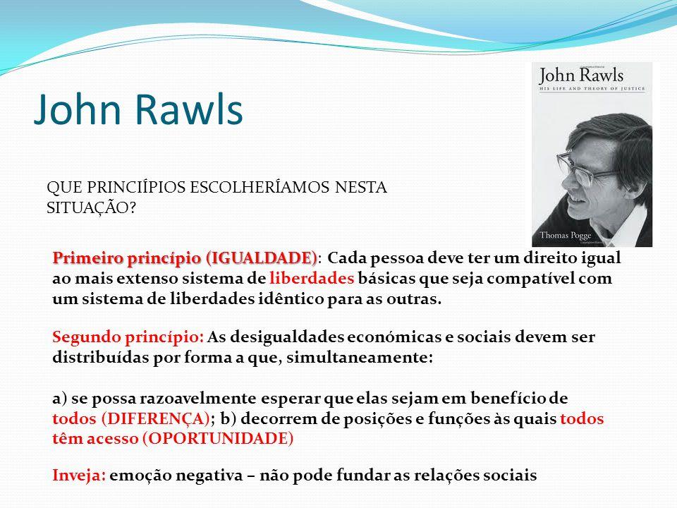 John Rawls QUE PRINCIÍPIOS ESCOLHERÍAMOS NESTA SITUAÇÃO? Primeiro princípio (IGUALDADE) Primeiro princípio (IGUALDADE): Cada pessoa deve ter um direit