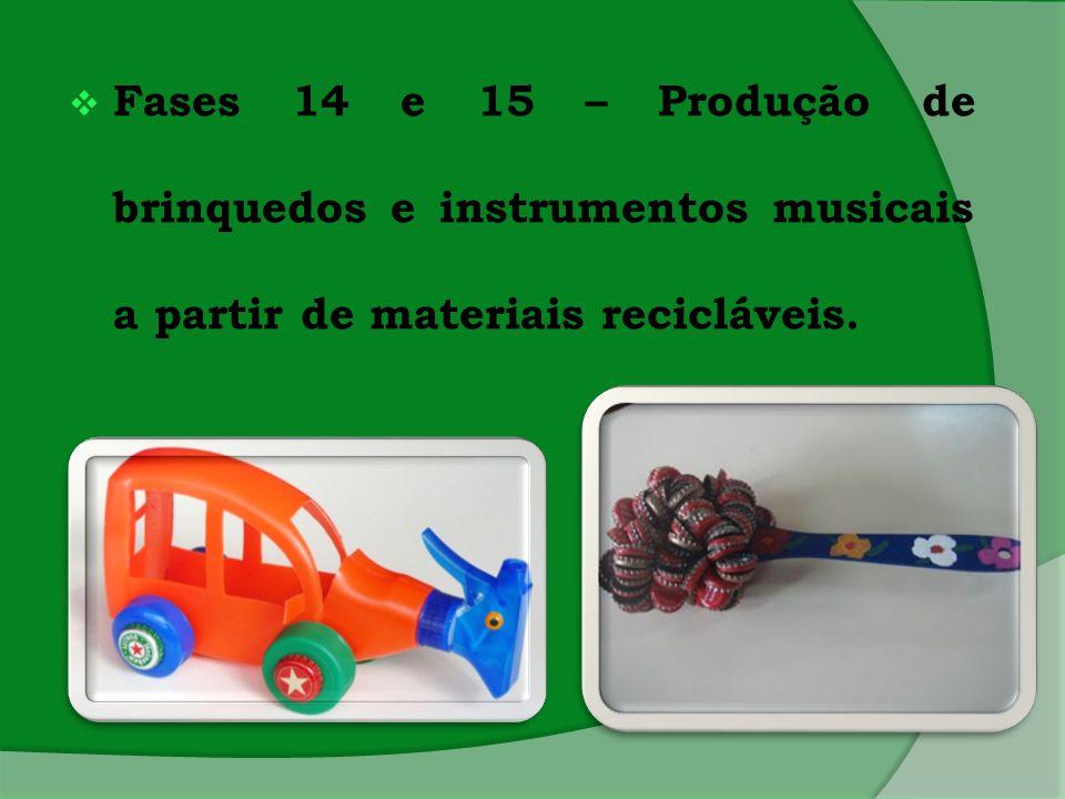  Fases 14 e 15 – Produção de brinquedos e instrumentos musicais a partir de materiais recicláveis.