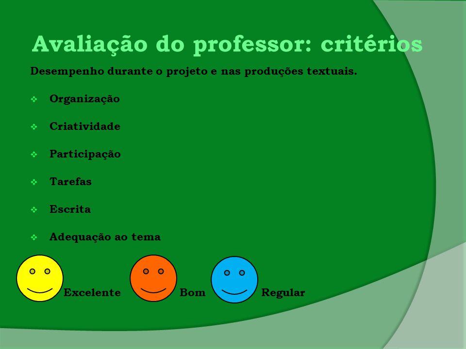 Avaliação do professor: critérios Desempenho durante o projeto e nas produções textuais.  Organização  Criatividade  Participação  Tarefas  Escri