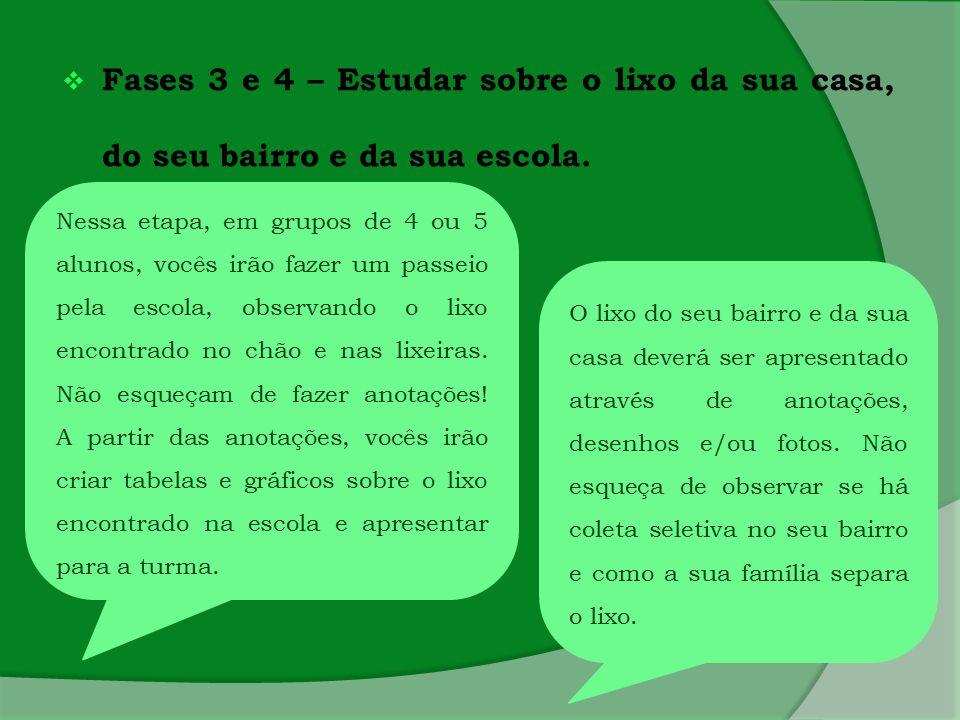 Fases 3 e 4 – Estudar sobre o lixo da sua casa, do seu bairro e da sua escola. Nessa etapa, em grupos de 4 ou 5 alunos, vocês irão fazer um passeio