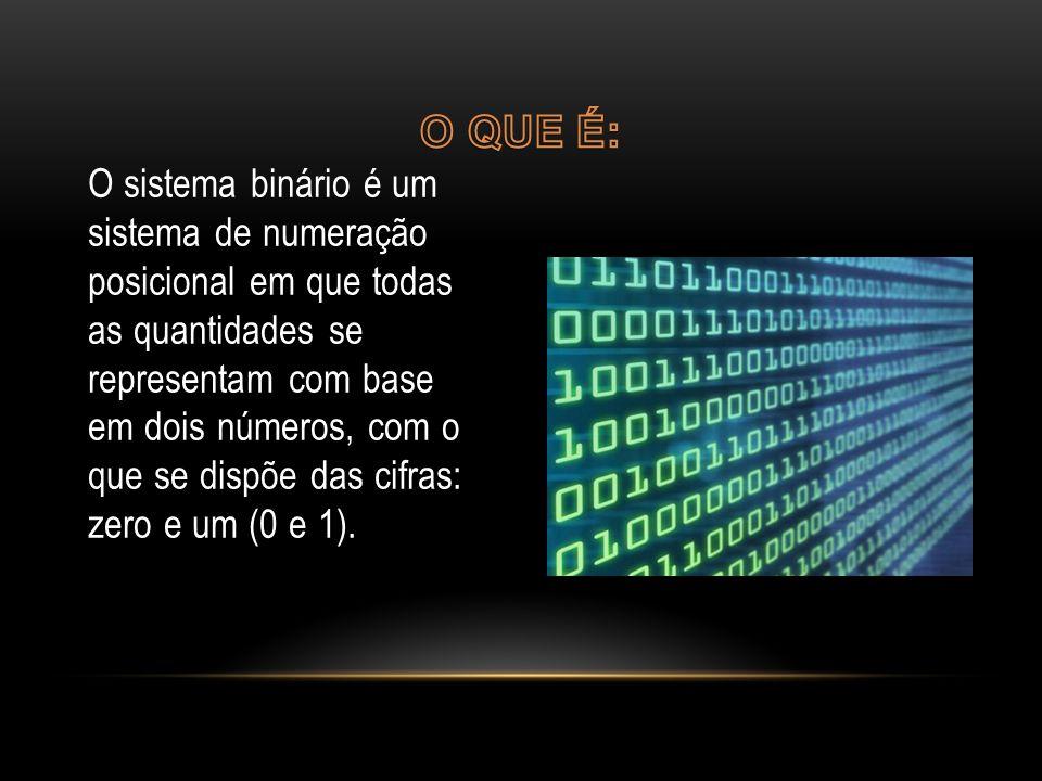 O sistema binário é um sistema de numeração posicional em que todas as quantidades se representam com base em dois números, com o que se dispõe das cifras: zero e um (0 e 1).