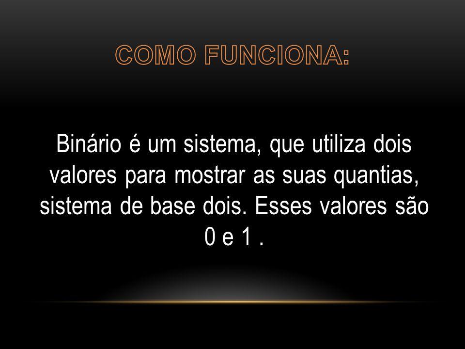 Binário é um sistema, que utiliza dois valores para mostrar as suas quantias, sistema de base dois. Esses valores são 0 e 1.