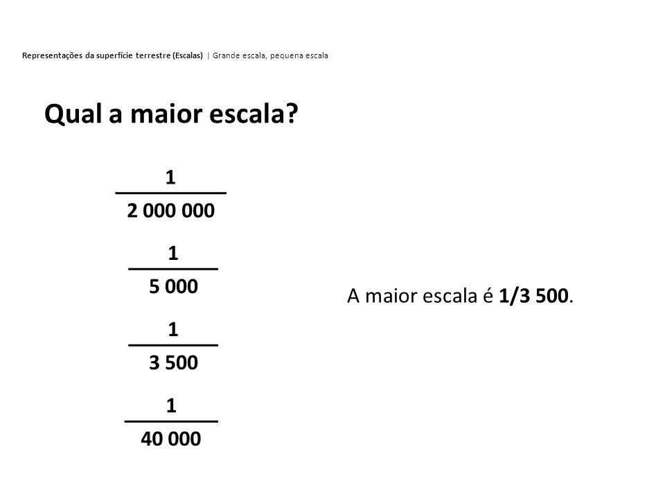 Representações da superfície terrestre (Escalas) | Grande escala, pequena escala 1 2 000 000 1 5 000 1 3 500 Qual a maior escala? 1 40 000 A maior esc