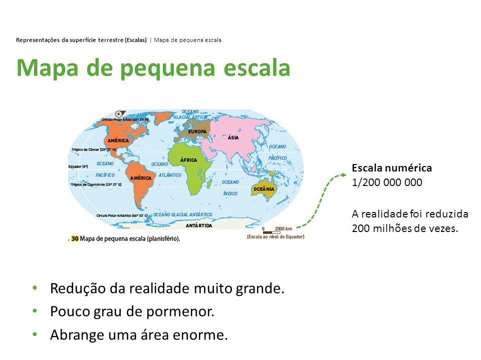 Mapa de pequena escala Representações da superfície terrestre (Escalas) | Mapa de pequena escala Redução da realidade muito grande. Pouco grau de porm