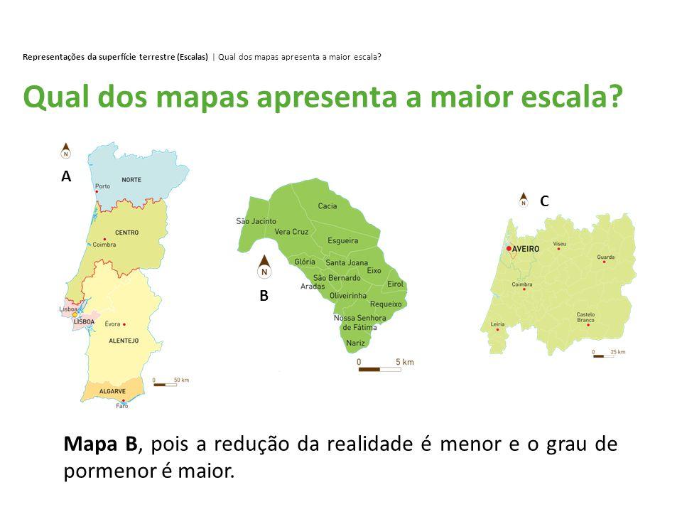 Qual dos mapas apresenta a maior escala? Representações da superfície terrestre (Escalas) | Qual dos mapas apresenta a maior escala? Mapa B, pois a re