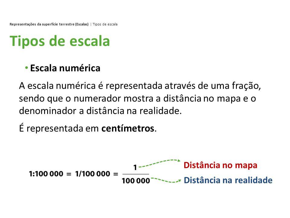 Tipos de escala Representações da superfície terrestre (Escalas) | Tipos de escala Escala numérica A escala numérica é representada através de uma fra
