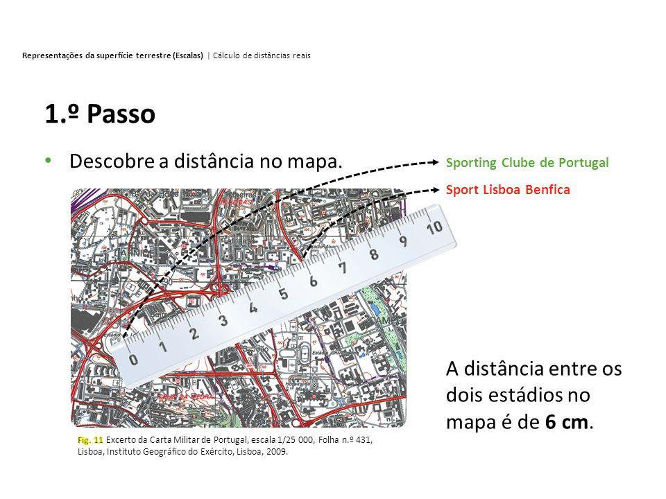 Representações da superfície terrestre (Escalas) | Cálculo de distâncias reais 2.º Passo Verifica a escala do mapa.