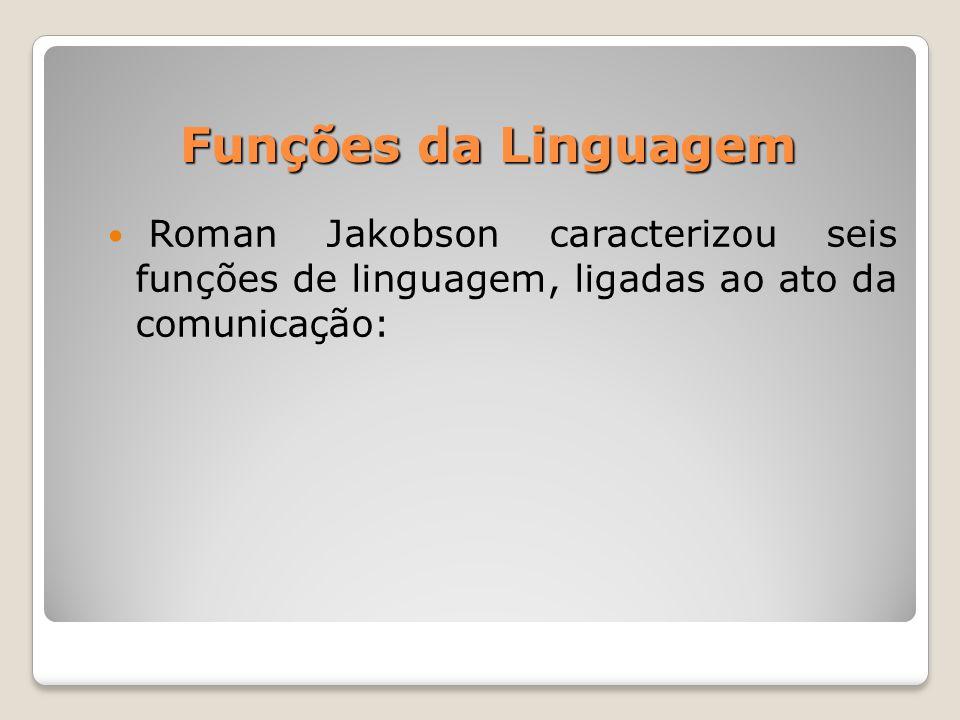 Funções da Linguagem Roman Jakobson caracterizou seis funções de linguagem, ligadas ao ato da comunicação: