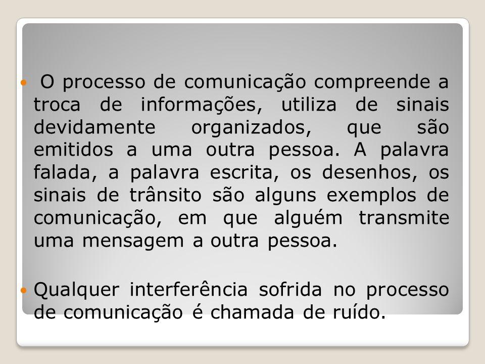 O processo de comunicação compreende a troca de informações, utiliza de sinais devidamente organizados, que são emitidos a uma outra pessoa.