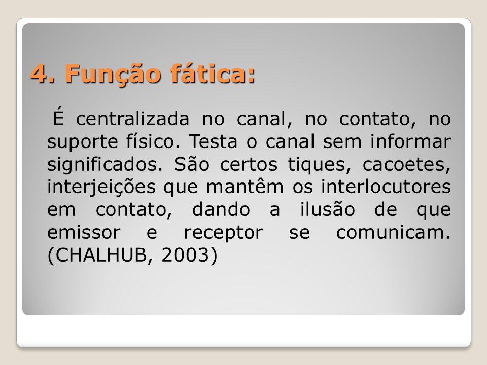 4.Função fática: É centralizada no canal, no contato, no suporte físico.