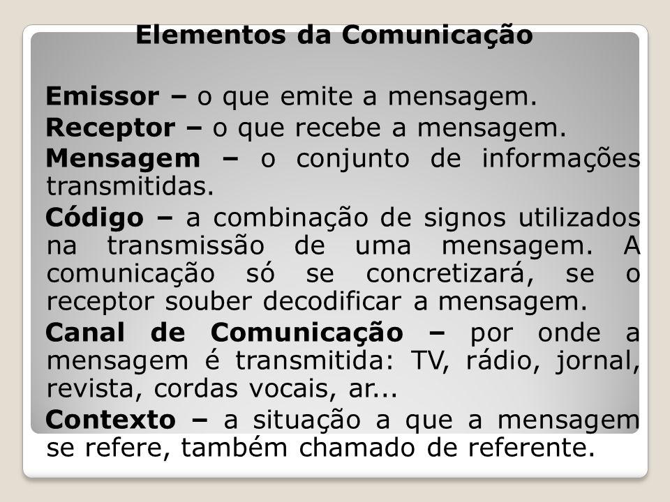 Elementos da Comunicação Emissor – o que emite a mensagem. Receptor – o que recebe a mensagem. Mensagem – o conjunto de informações transmitidas. Códi