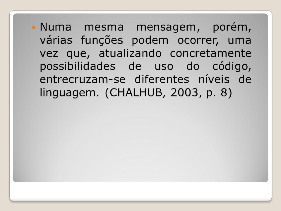 Numa mesma mensagem, porém, várias funções podem ocorrer, uma vez que, atualizando concretamente possibilidades de uso do código, entrecruzam-se diferentes níveis de linguagem.