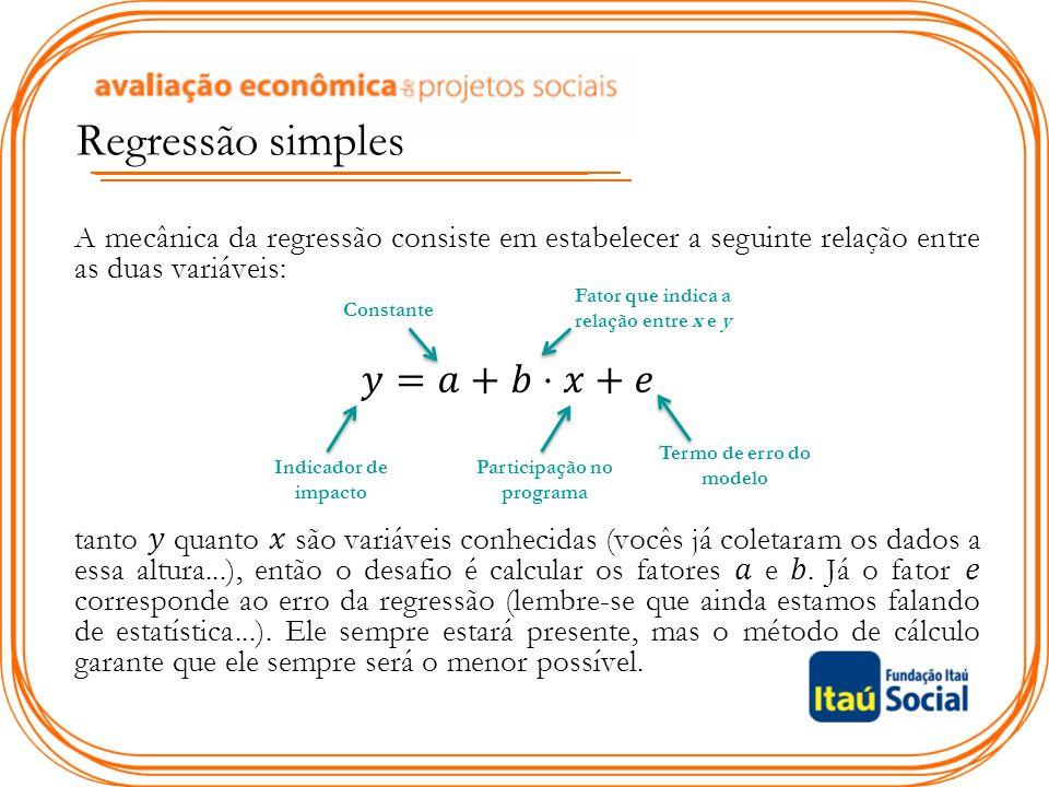 Regressão simples Indicador de impacto Participação no programa Constante Fator que indica a relação entre x e y Termo de erro do modelo