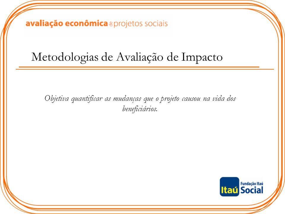 Metodologias de Avaliação de Impacto Objetiva quantificar as mudanças que o projeto causou na vida dos beneficiários.
