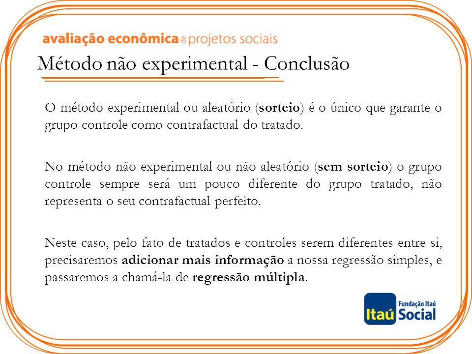 O método experimental ou aleatório (sorteio) é o único que garante o grupo controle como contrafactual do tratado. No método não experimental ou não a