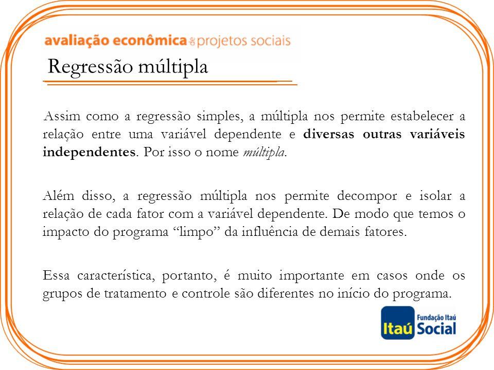 Regressão múltipla Assim como a regressão simples, a múltipla nos permite estabelecer a relação entre uma variável dependente e diversas outras variáv