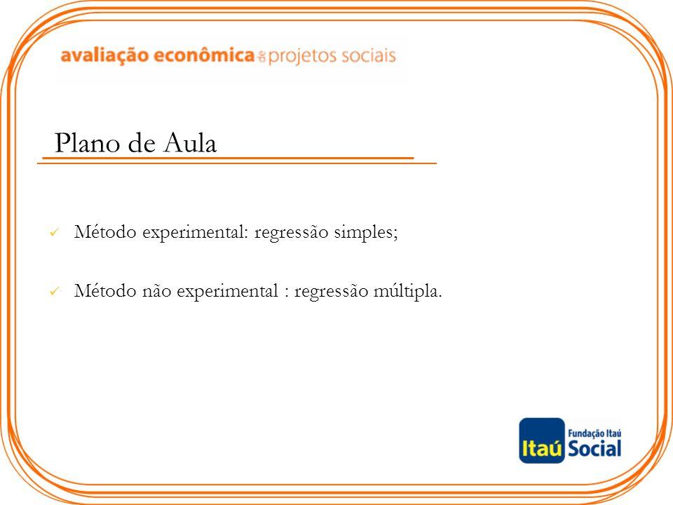 Plano de Aula Método experimental: regressão simples; Método não experimental : regressão múltipla.
