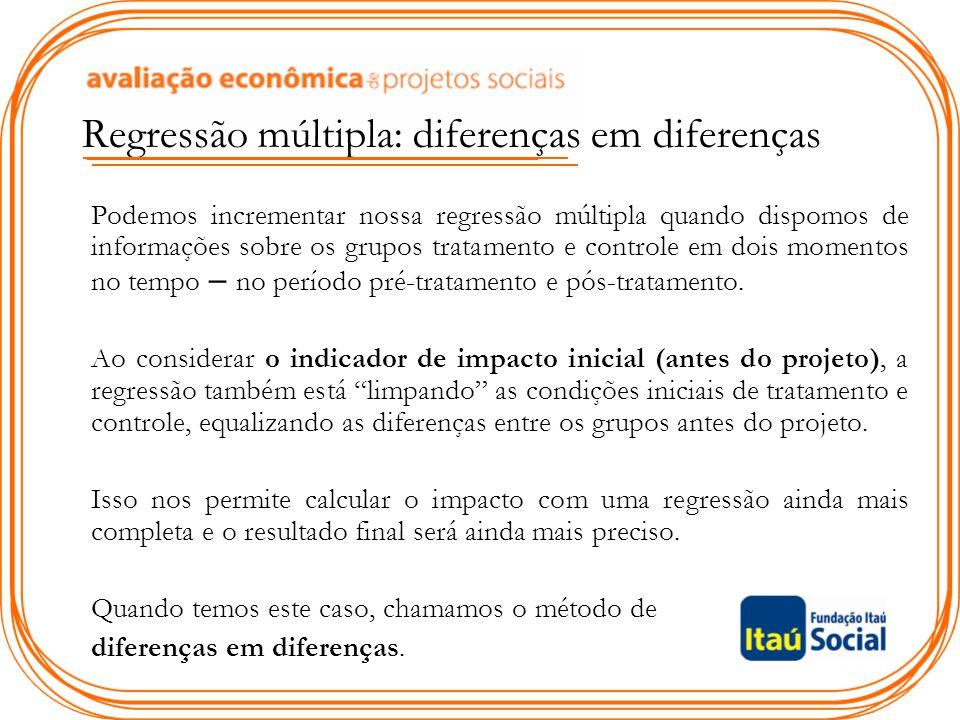 Regressão múltipla: diferenças em diferenças Podemos incrementar nossa regressão múltipla quando dispomos de informações sobre os grupos tratamento e