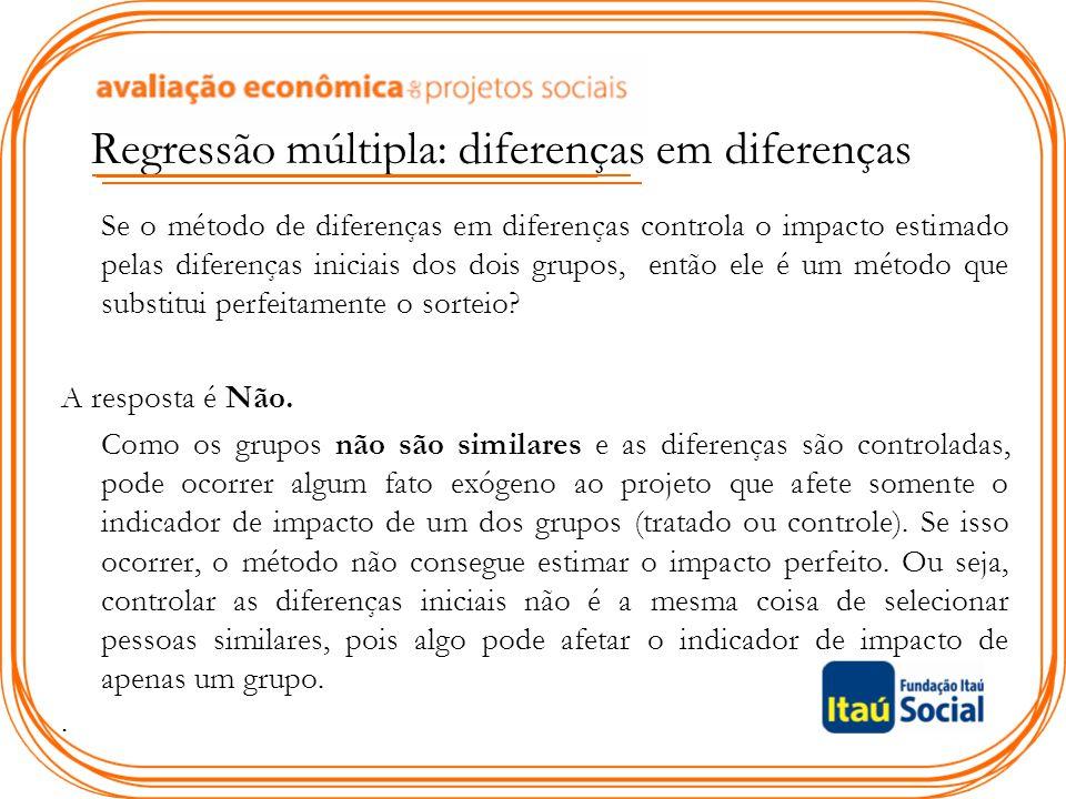 Regressão múltipla: diferenças em diferenças Se o método de diferenças em diferenças controla o impacto estimado pelas diferenças iniciais dos dois gr