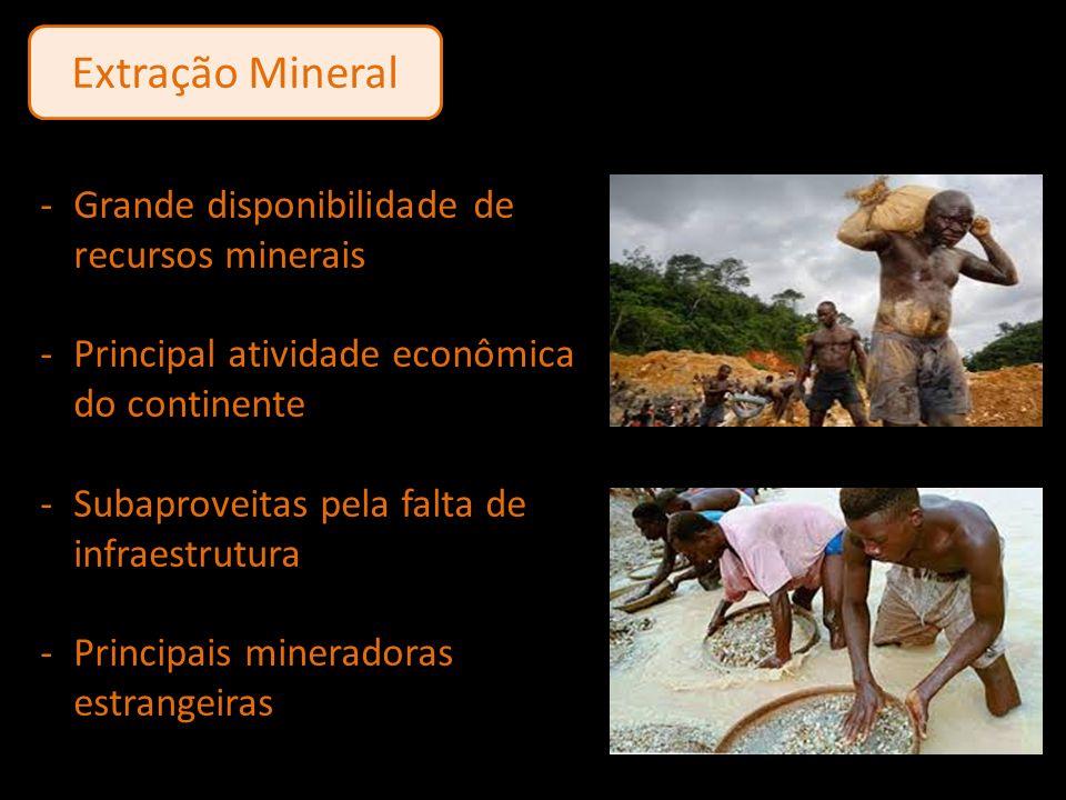 Extração Mineral -Grande disponibilidade de recursos minerais -Principal atividade econômica do continente -Subaproveitas pela falta de infraestrutura
