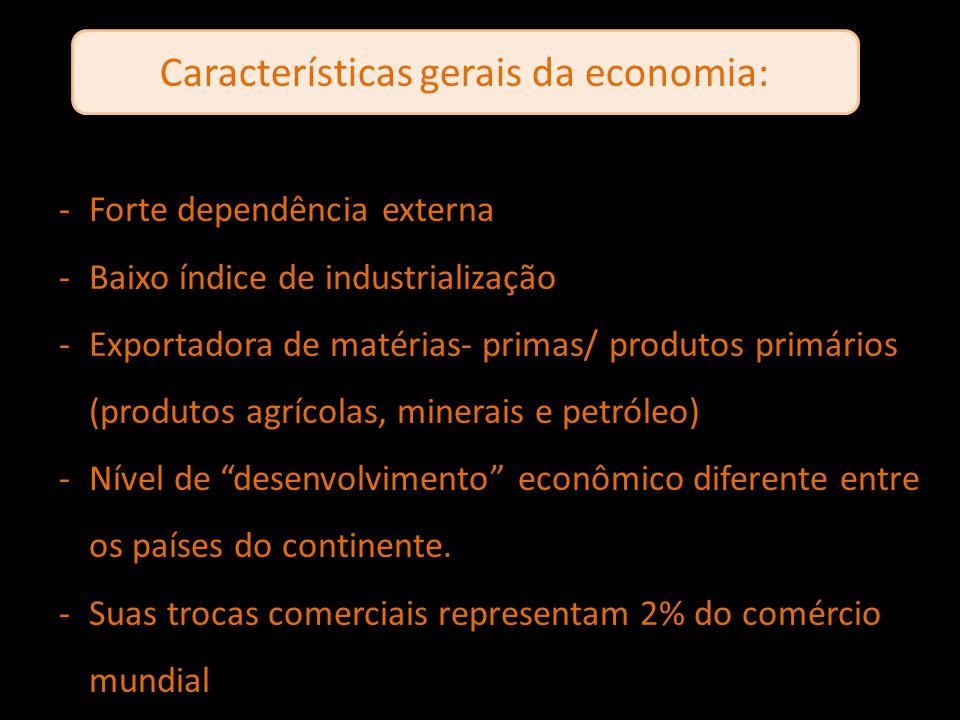 Características gerais da economia: -Forte dependência externa -Baixo índice de industrialização -Exportadora de matérias- primas/ produtos primários