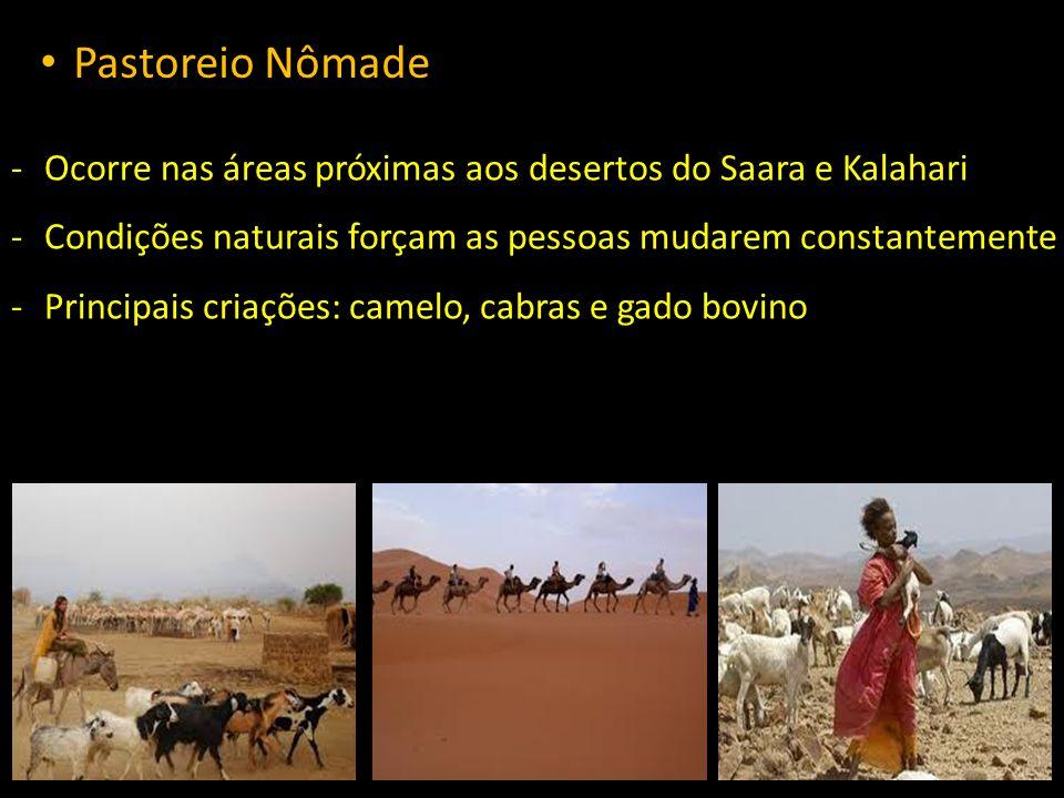 Pastoreio Nômade -Ocorre nas áreas próximas aos desertos do Saara e Kalahari -Condições naturais forçam as pessoas mudarem constantemente -Principais