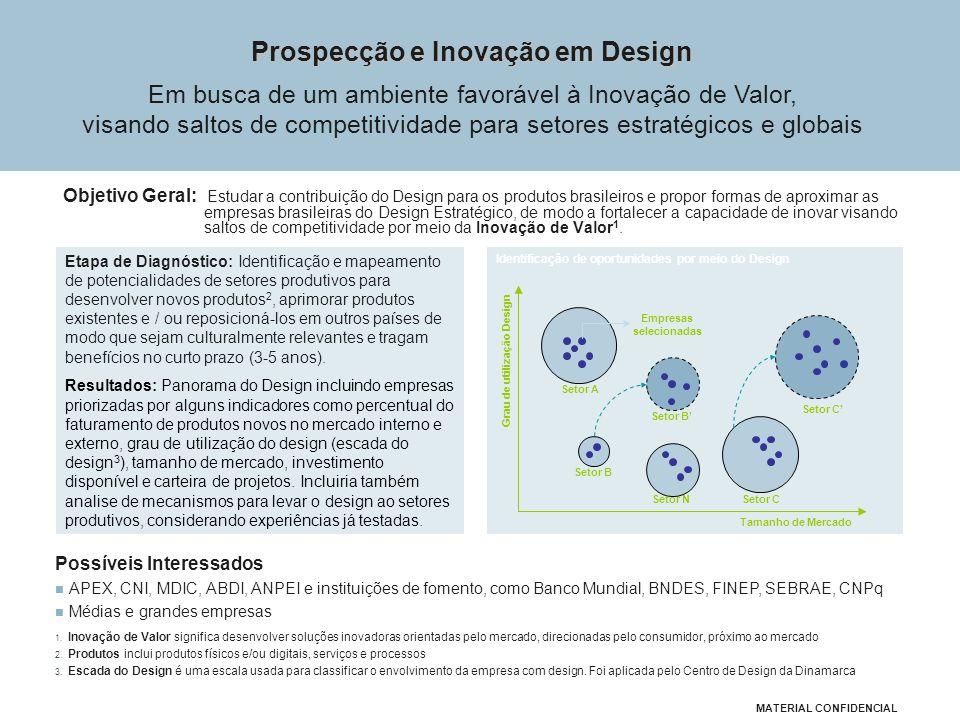 Objetivo Geral: Estudar a contribuição do Design para os produtos brasileiros e propor formas de aproximar as empresas brasileiras do Design Estratégico, de modo a fortalecer a capacidade de inovar visando saltos de competitividade por meio da Inovação de Valor 1.