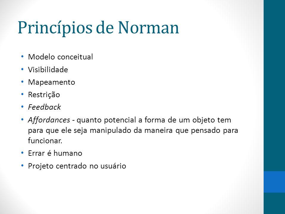 Princípios de Norman Modelo conceitual Visibilidade Mapeamento Restrição Feedback Affordances - quanto potencial a forma de um objeto tem para que ele