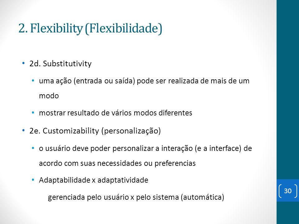 2d. Substitutivity uma ação (entrada ou saída) pode ser realizada de mais de um modo mostrar resultado de vários modos diferentes 2e. Customizability