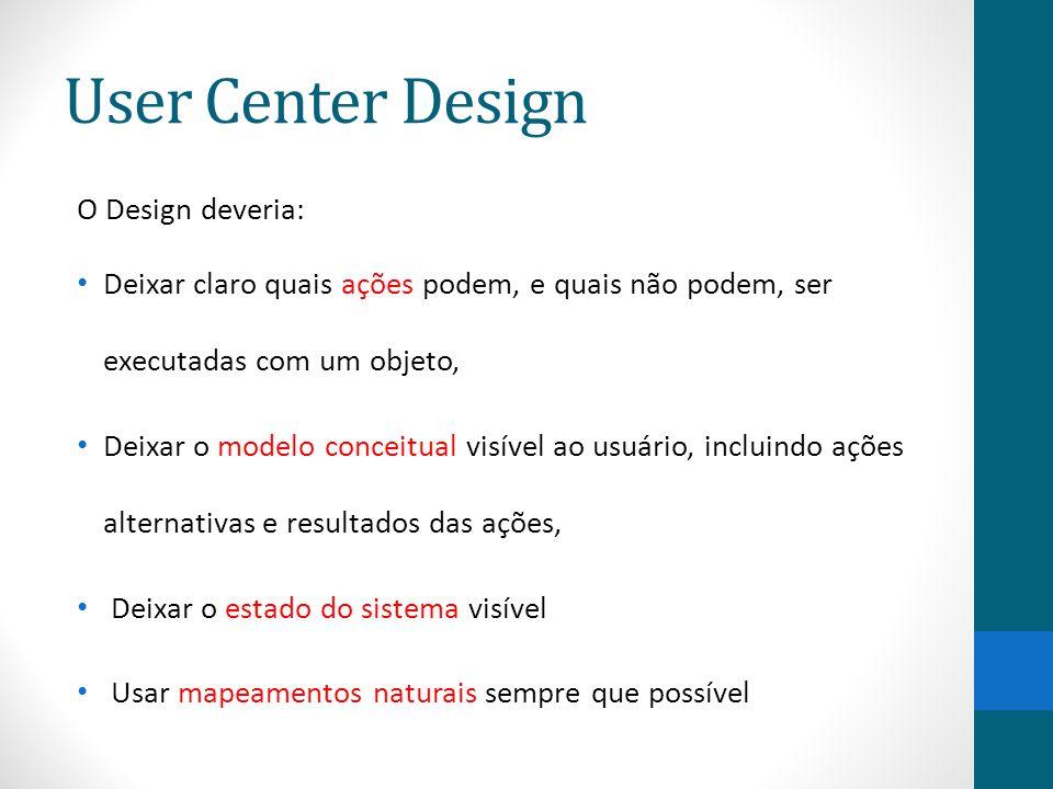 User Center Design O Design deveria: Deixar claro quais ações podem, e quais não podem, ser executadas com um objeto, Deixar o modelo conceitual visív