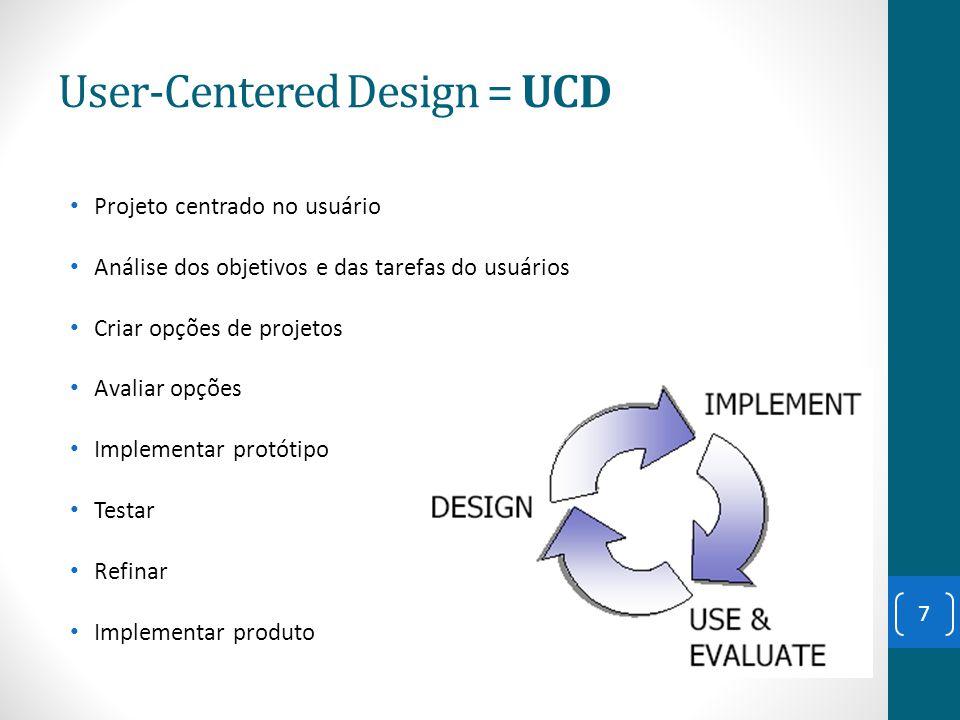 User-Centered Design = UCD Projeto centrado no usuário Análise dos objetivos e das tarefas do usuários Criar opções de projetos Avaliar opções Impleme