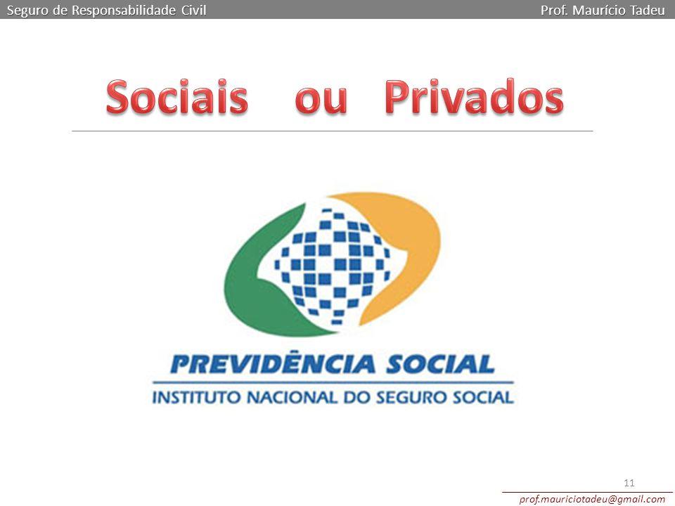 Seguro de Responsabilidade Civil Prof. Maurício Tadeu prof.mauriciotadeu@gmail.com 11