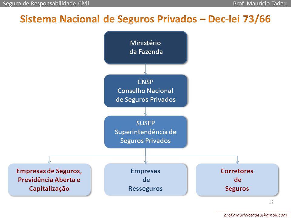 Seguro de Responsabilidade Civil Prof. Maurício Tadeu 12 Ministério da Fazenda Ministério da Fazenda CNSP Conselho Nacional de Seguros Privados CNSP C