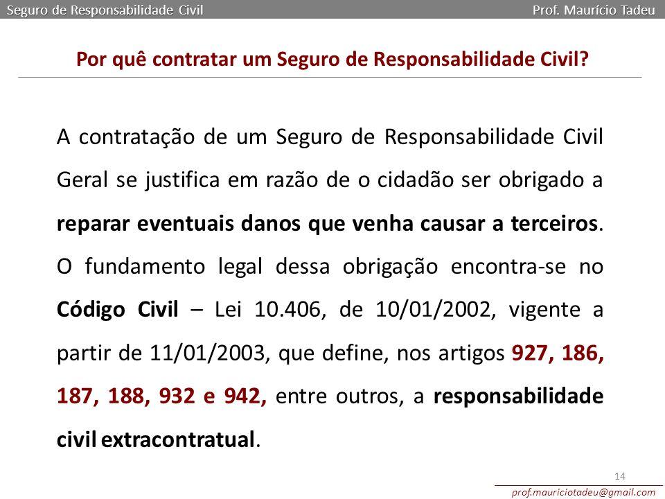 Seguro de Responsabilidade Civil Prof. Maurício Tadeu prof.mauriciotadeu@gmail.com 14 Por quê contratar um Seguro de Responsabilidade Civil? A contrat