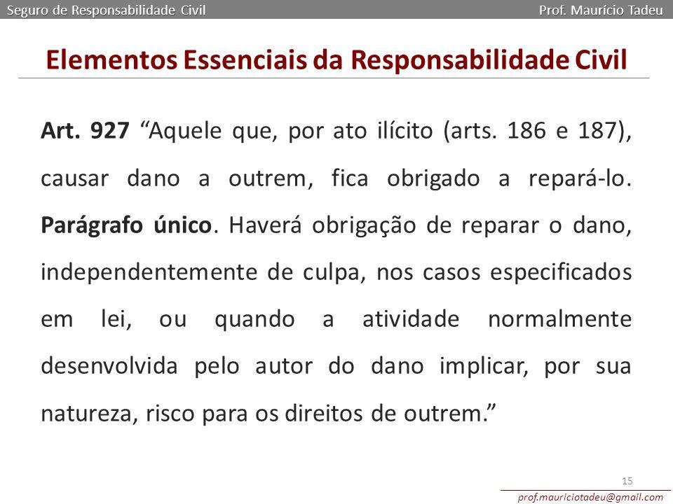 """Art. 927 """"Aquele que, por ato ilícito (arts. 186 e 187), causar dano a outrem, fica obrigado a repará-lo. Parágrafo único. Haverá obrigação de reparar"""